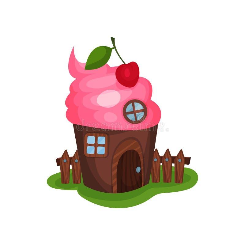 Mały fantazja dom w kształcie babeczka lub lody Stwarza ognisko domowe z drewnianymi drzwi, round i kwadratowych okno, czerwona w royalty ilustracja