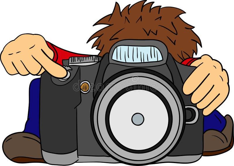 Mały fotograf i duża kamera royalty ilustracja