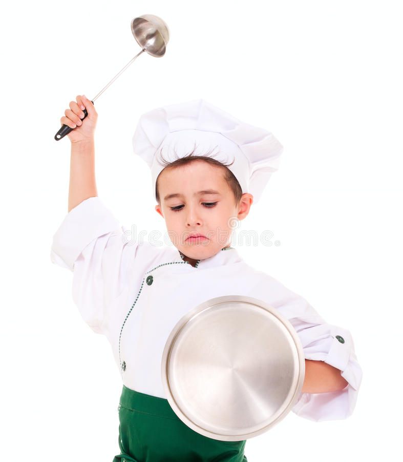 Mały gniewny chłopiec kucharza sztuka rycerz obraz stock