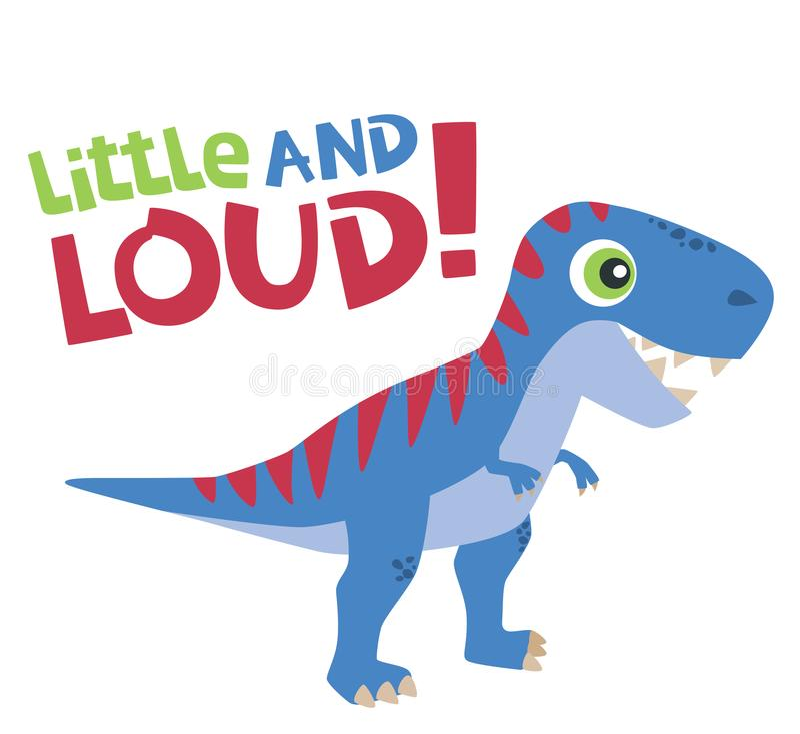 Mały i Głośny tekst z Ślicznego Tyrannosaurus Rex dziecka dinosaura Wektorową ilustracją Odizolowywającą na bielu ilustracji