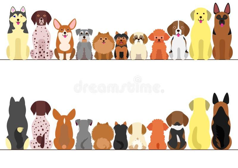 Mały i wielki pies granicy set royalty ilustracja