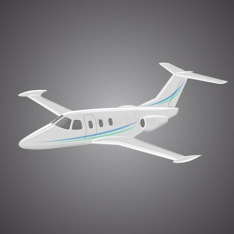 Mały intymnego strumienia wektor Biznes dżetowa ilustracja Luksusowy bliźniaczy silnika samolot ilustracja wektor