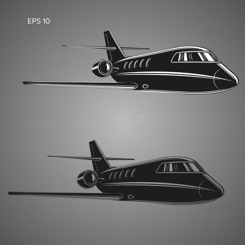 Mały intymnego strumienia wektor Biznes dżetowa ilustracja Luksusowy bliźniaczy silnika samolot ilustracji