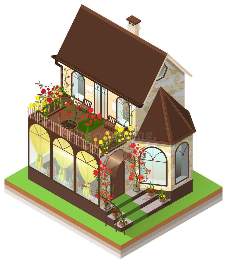 Mały intymny kamienia dom z podpalanym okno i dachowym ogródem Isometric 3d odizolowywający na bielu royalty ilustracja