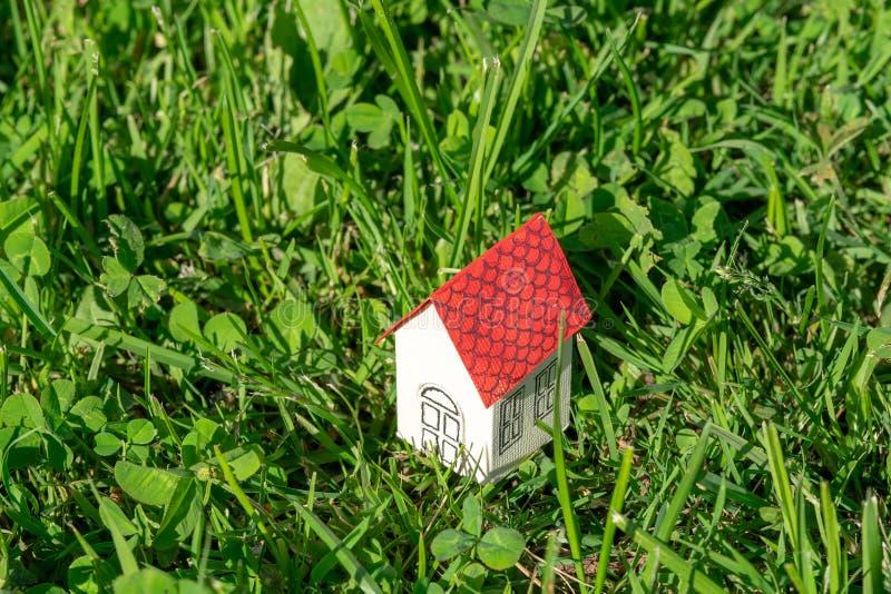 Mały kartonu dom w strava na polu fotografia royalty free