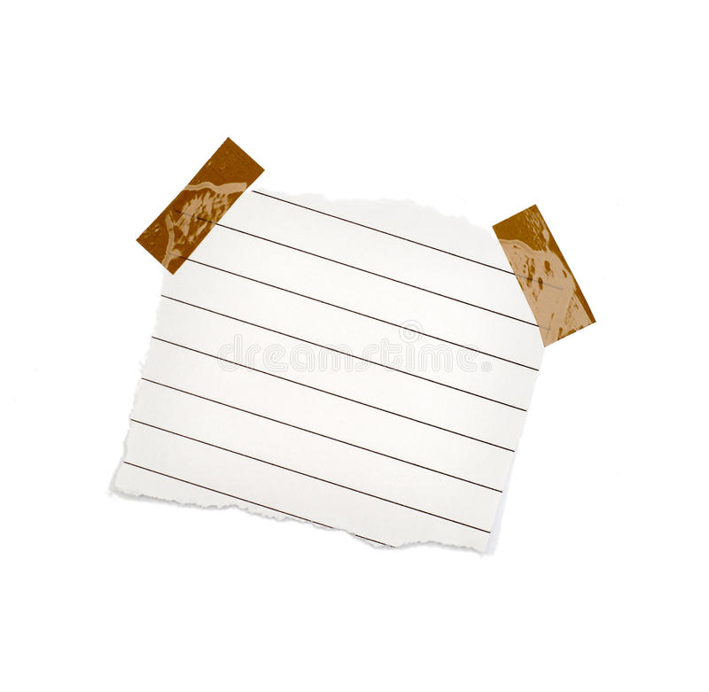 Mały kawałek papieru trzymający adhezyjnym zdjęcia stock