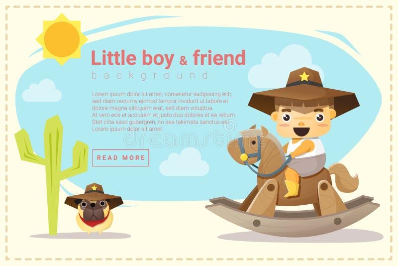 Mały kowboja i przyjaciela tło ilustracji