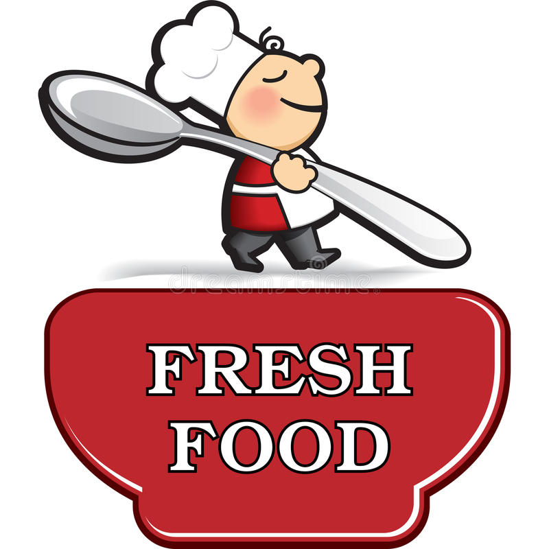 Mały kreskówka kucharz w fartuchu z bardzo dużym łyżkowym pobliskim dużym talerzem ilustracja wektor