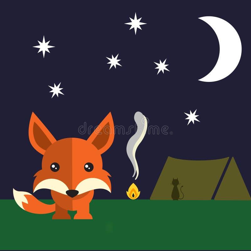 Mały lis w nocy zdjęcia royalty free