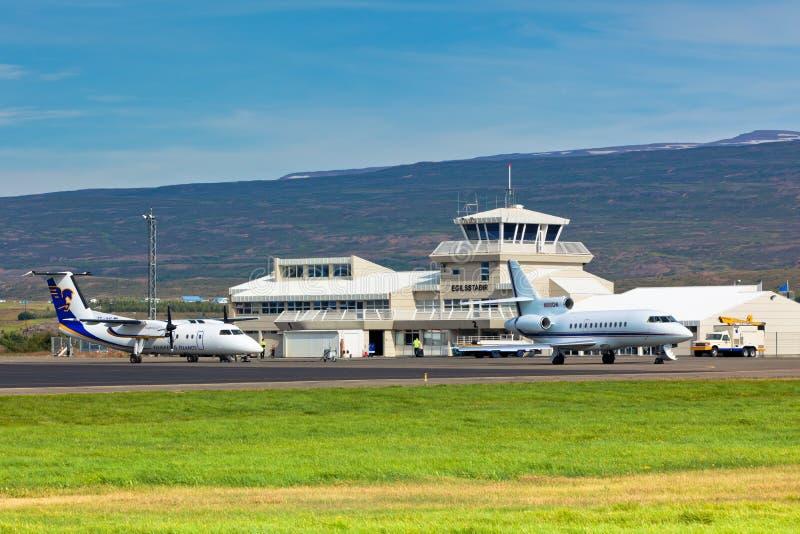 Mały Lokalny lotnisko w Egilsstadir, Północny Iceland obrazy royalty free