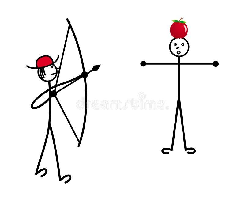 Mały mężczyzna w czerwonym kapeluszu strzela łęk w jabłku na głowie inna osoba wektor royalty ilustracja