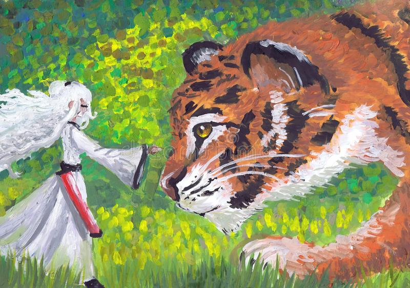 Mały magik i tygrys Dziecka ` s rysunek fotografia royalty free