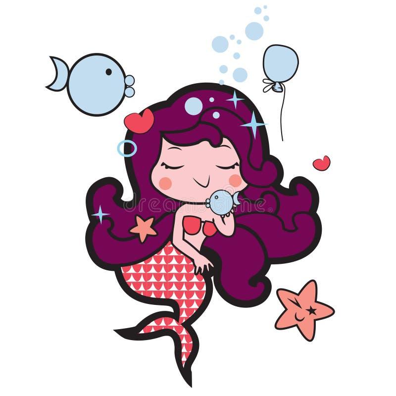 Mały marmaid bawić się z ryba royalty ilustracja
