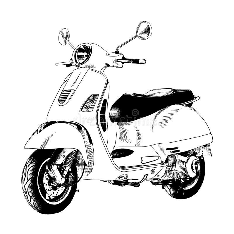 Mały miasta moped malował z atramentem ręką ilustracja wektor