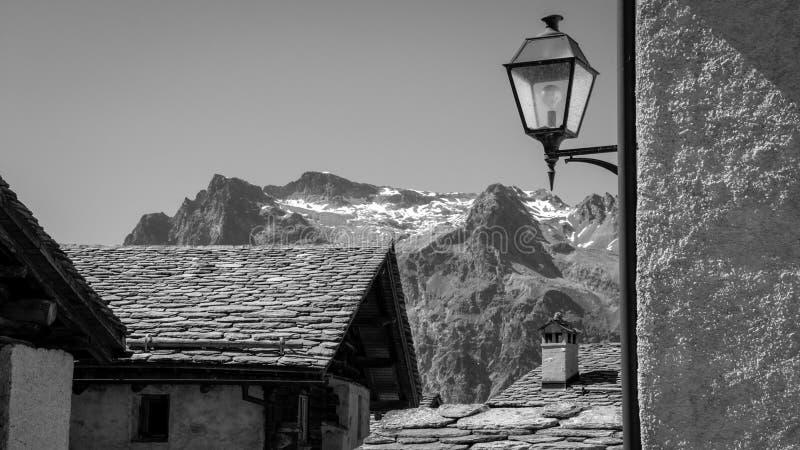 Mały miasto lampion w Val Fex Graubunden, Szwajcaria zdjęcie royalty free
