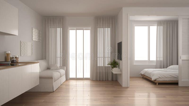 Mały mieszkanie z kuchnią, żywym pokojem i sypialnią, biała minuta royalty ilustracja