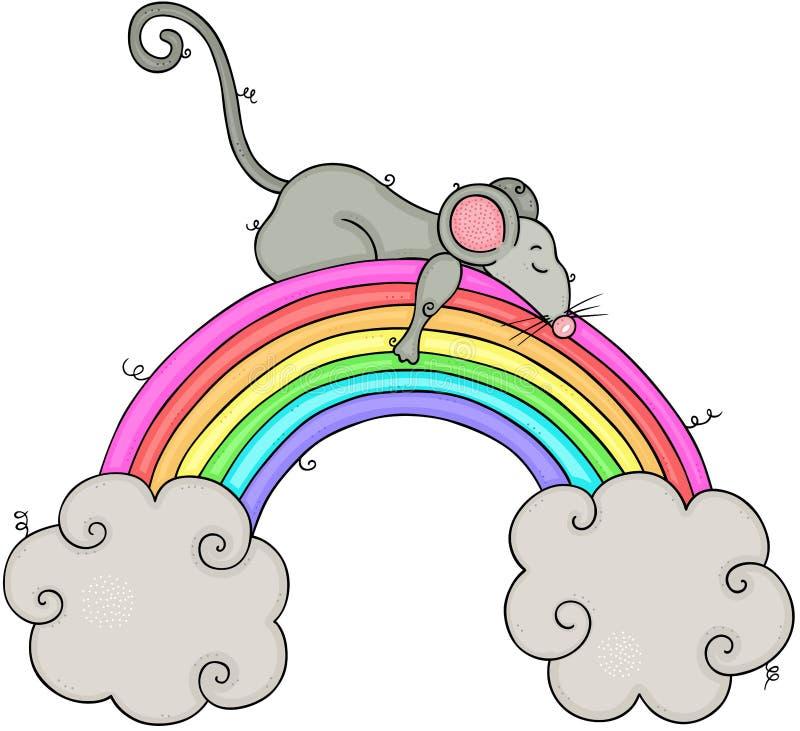 Mały myszy dosypianie na tęczy i chmurach royalty ilustracja