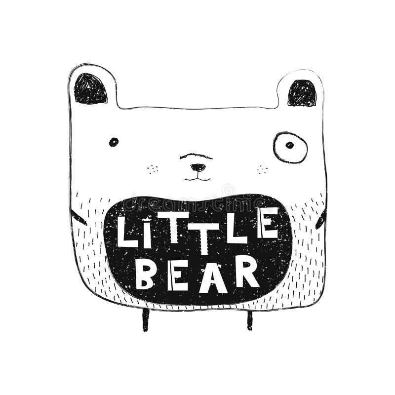 mały niedźwiedź Ręka rysujący stylowy typografia plakat royalty ilustracja