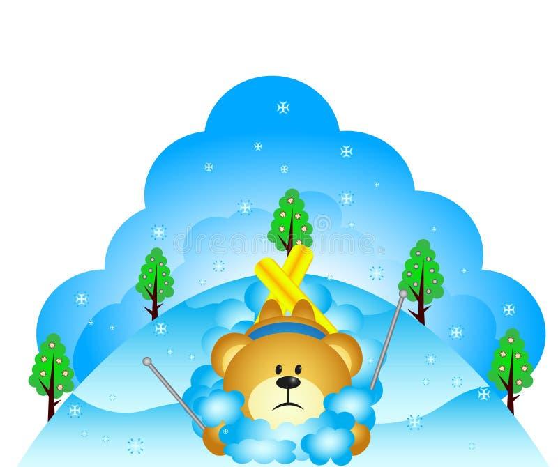 Mały niedźwiedź spadał podczas gdy narciarstwo ilustracji