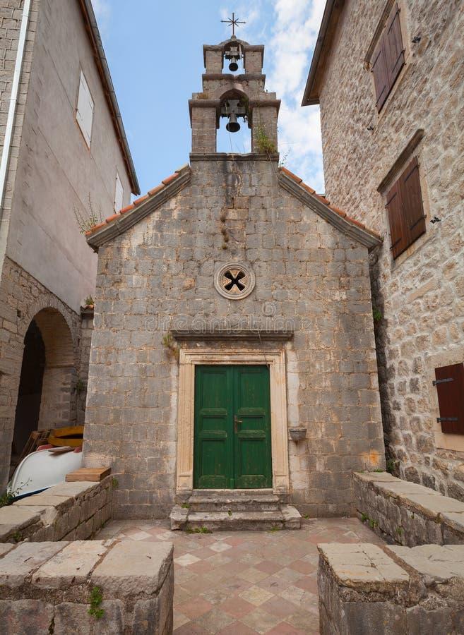 Mały Ortodoksalny kościół w Perast, Montenegro obraz royalty free