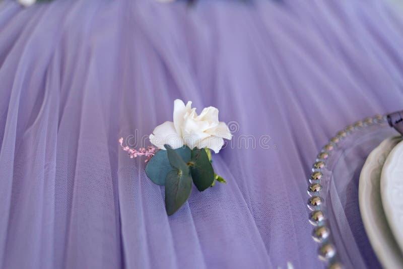 Mały pełen wdzięku buttonhole z kwiatem i gałąź zielenie fotografia royalty free
