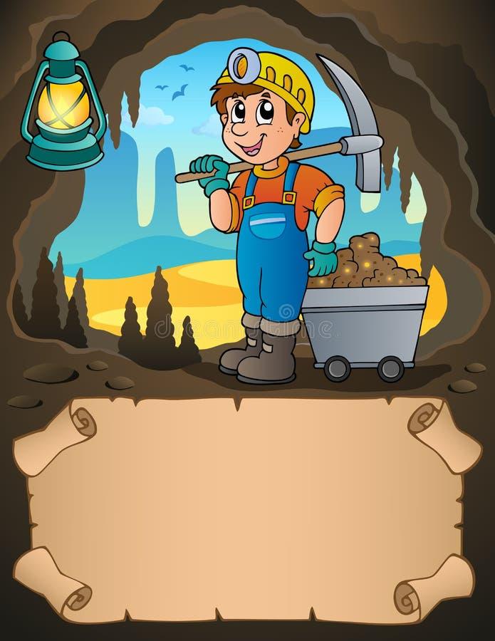 Mały pergamin i górnik z furą ilustracja wektor