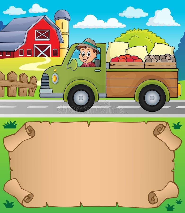 Mały pergamin i gospodarstwo rolne ciężarówka ilustracji