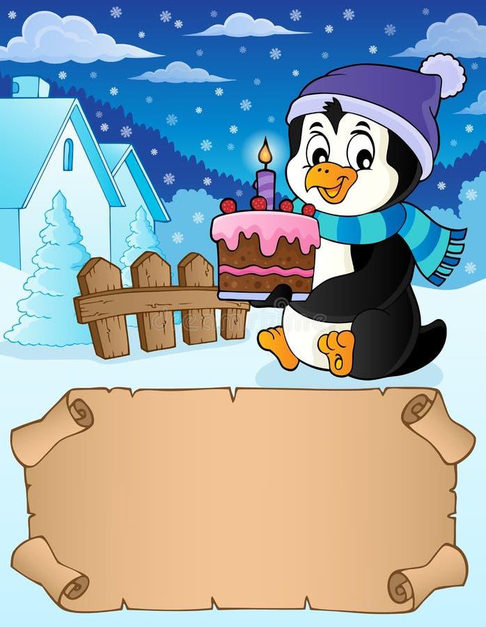 Mały pergamin i pingwin z tortem royalty ilustracja
