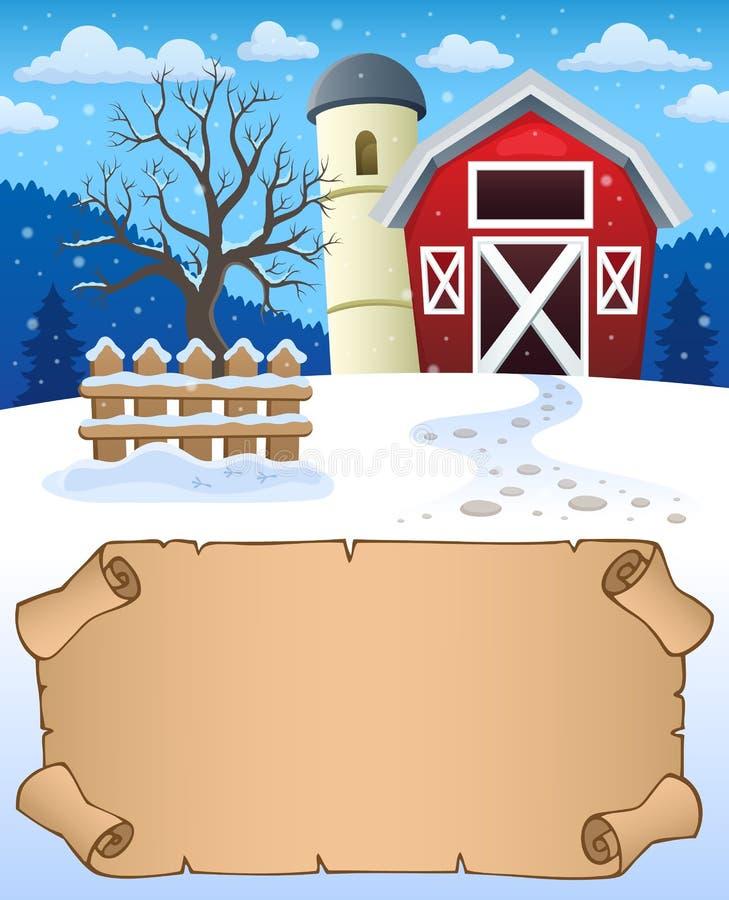 Mały pergaminu i zimy gospodarstwo rolne royalty ilustracja