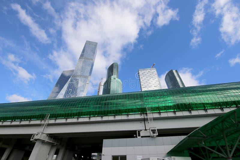 Mały pierścionek Moskwa koleje drapacze chmur i Międzynarodowy x28 & centrum biznesuCity& x29; , Rosja zdjęcie stock