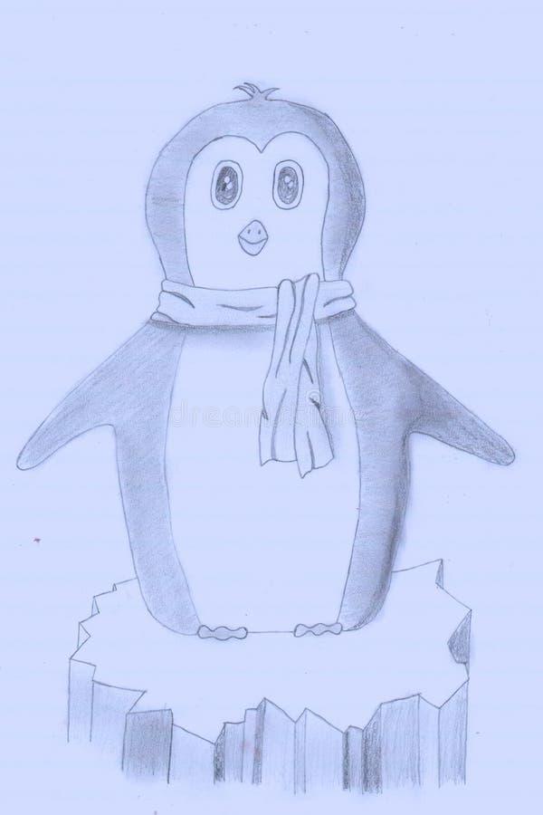 Mały pingwin na lodzie obrazy royalty free