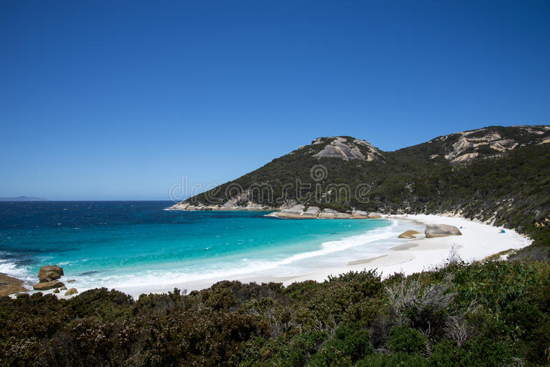 Mały plaża krajobraz w Dwa Zaludnia Podpalaną rezerwę blisko Albany fotografia royalty free