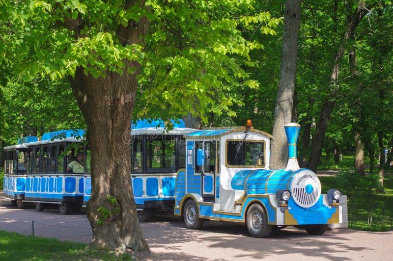 Mały pociąg w parku dla dzieci bawią się w Uroczystym Peterhof pałac obrazy royalty free