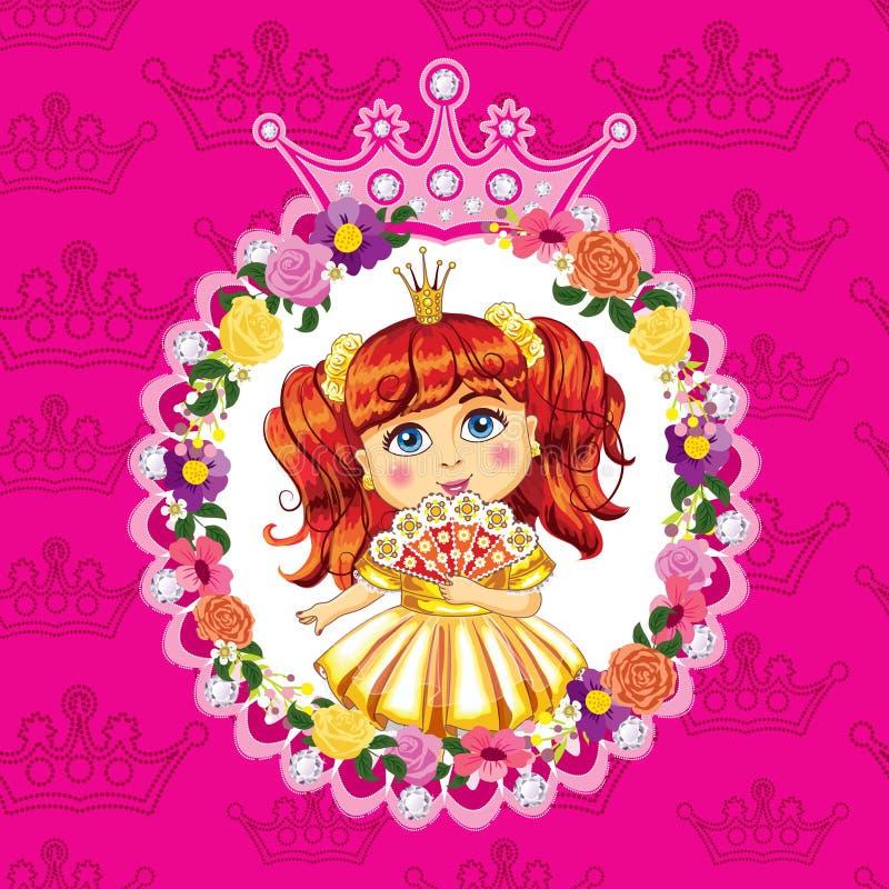 Mały princess, czerwony włosy na różowym tle ilustracja wektor