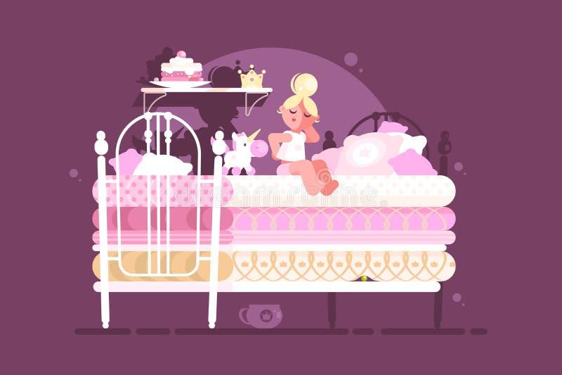 Mały princess na grochu ilustracji