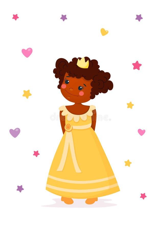 Mały princesse w żółtym pięknym dresse i złocistej koronie Śliczna uśmiechnięta królowa Bajki dosyć dzieciaki Kresk?wka styl royalty ilustracja