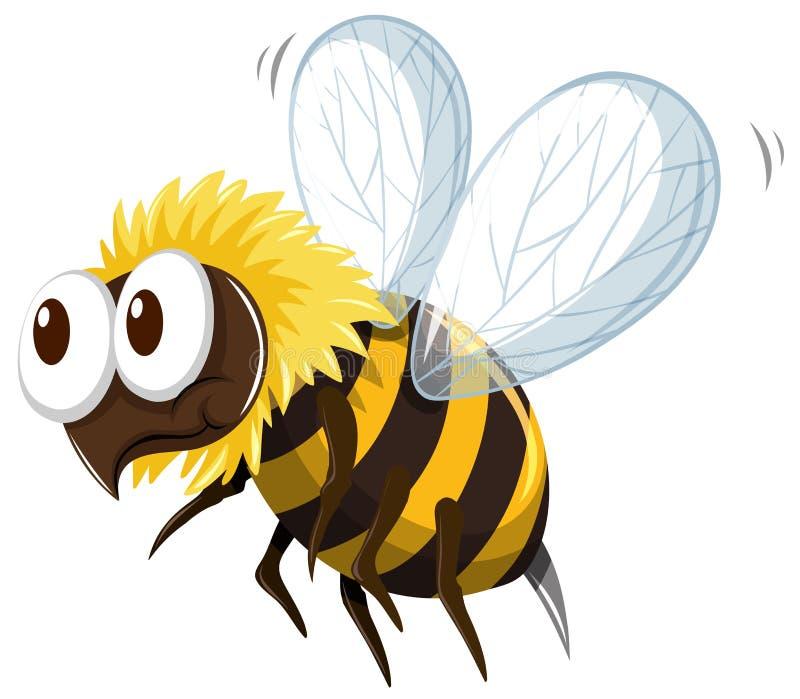Mały pszczoły latanie na białym tle ilustracja wektor