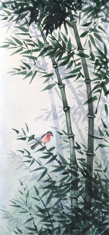Mały ptak w bambusowym gaju Obrazek w Japońskim stylu ilustracja wektor