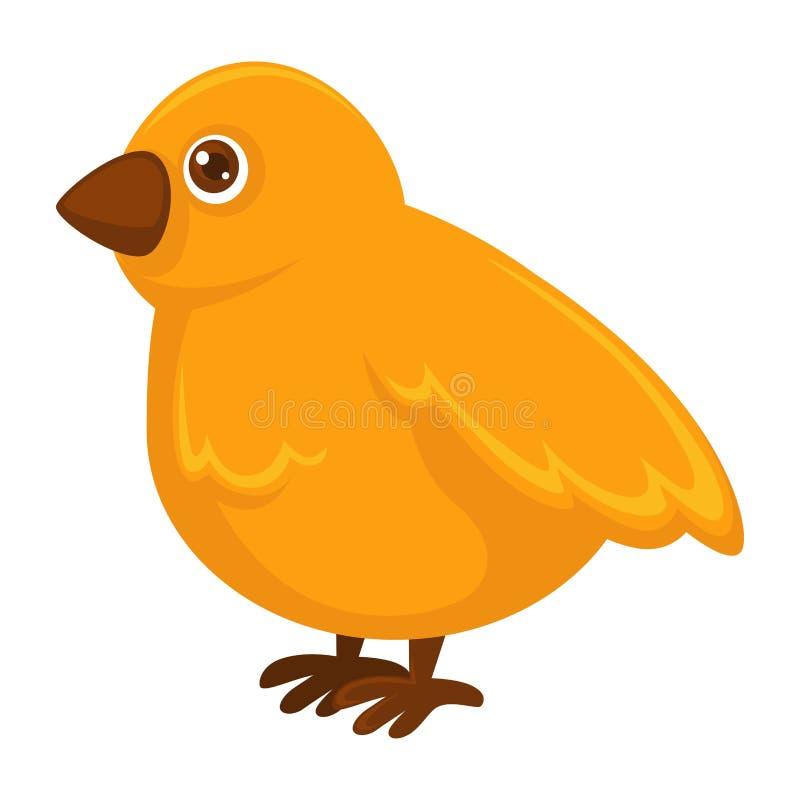 Mały puszysty żółty kurczak z małym ostrym belfrem ilustracji