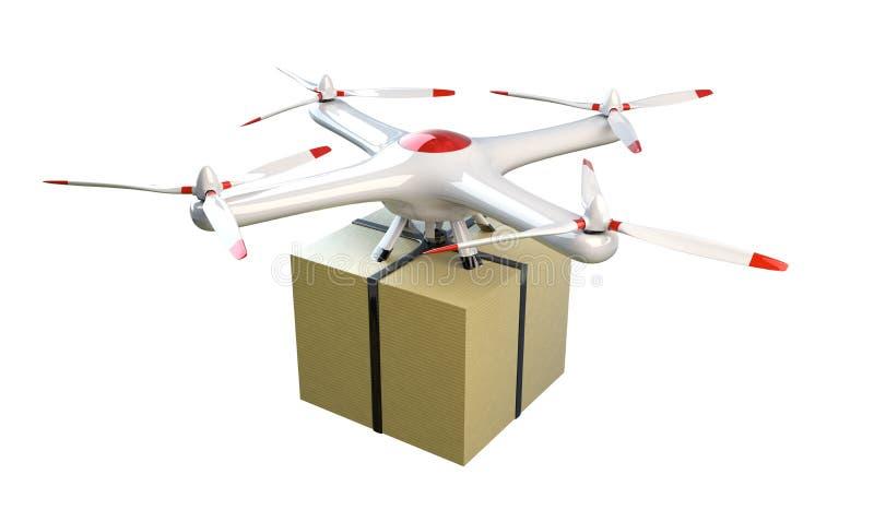 Mały quadrocopter truteń dostarcza pakunek ilustracja wektor