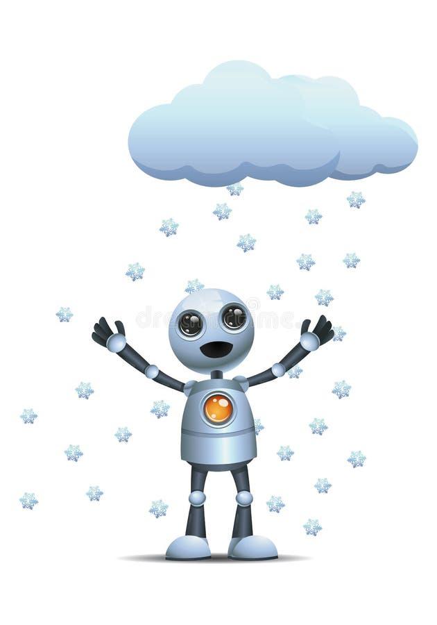 Mały robot na śniegu deszczu royalty ilustracja