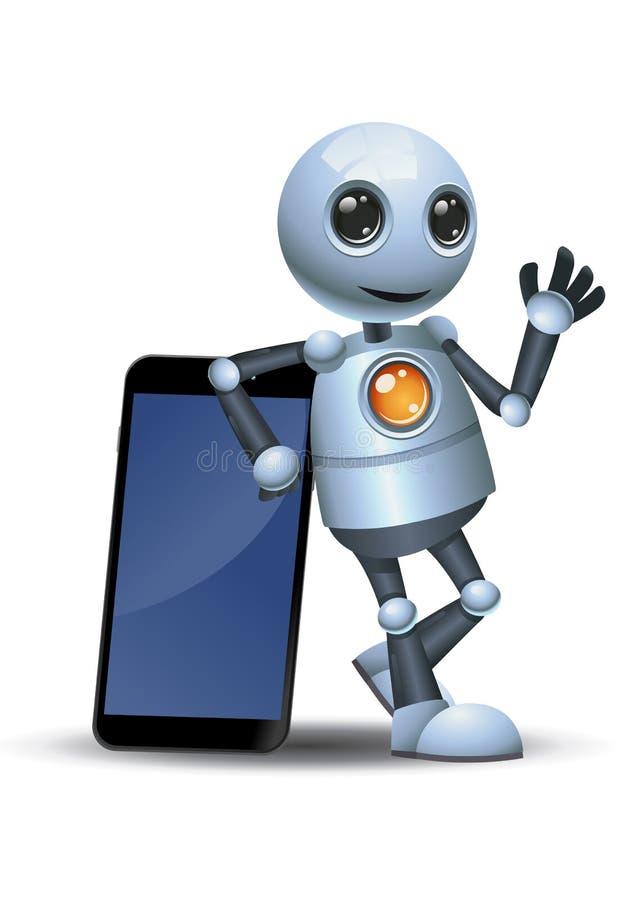 Mały robot opiera z powrotem na telefonie komórkowym royalty ilustracja