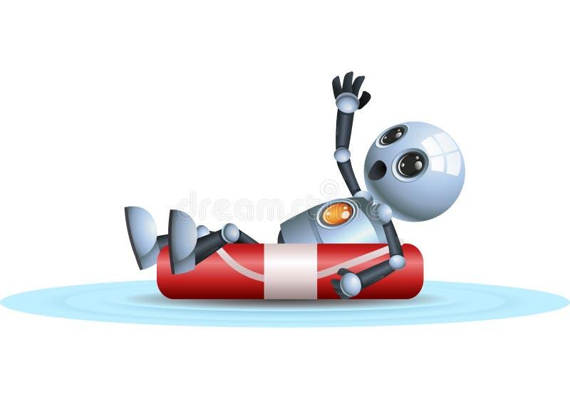 Mały robot unosi się na życia boja royalty ilustracja