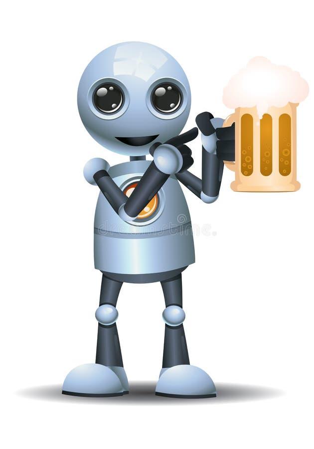 mały robota chwyt szkło piwo ilustracja wektor