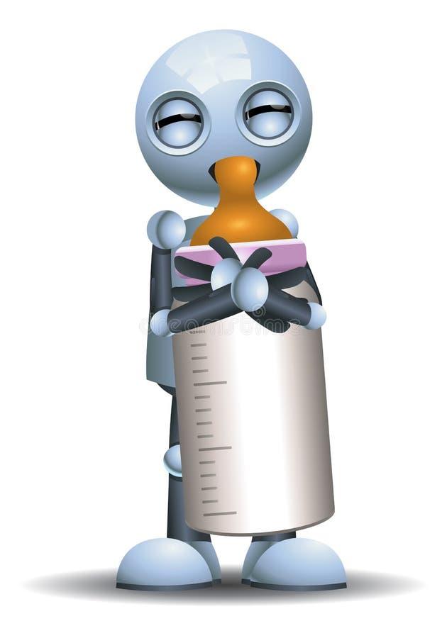 Mały robota dziecka napój od butelki ilustracja wektor