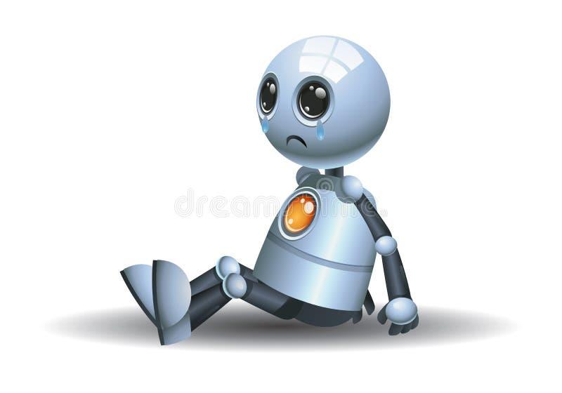 Mały robota płacz siedzi na podłodze ilustracja wektor