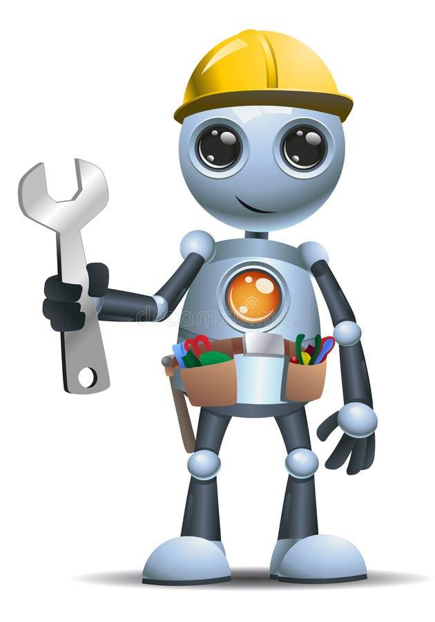 Mały robota pracownik budowlany na odosobnionym białym tle ilustracja wektor