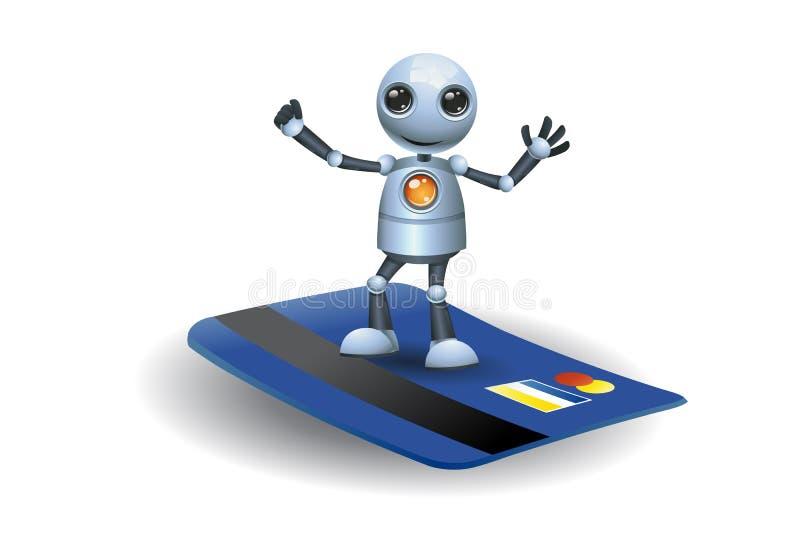 Mały robota stojak na kredytowej karcie royalty ilustracja