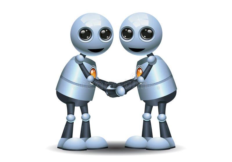 mały robota uścisk dłoni each inny ilustracja wektor