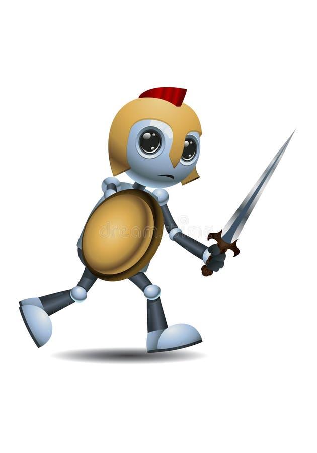 Mały robota wojownik iść wojna royalty ilustracja